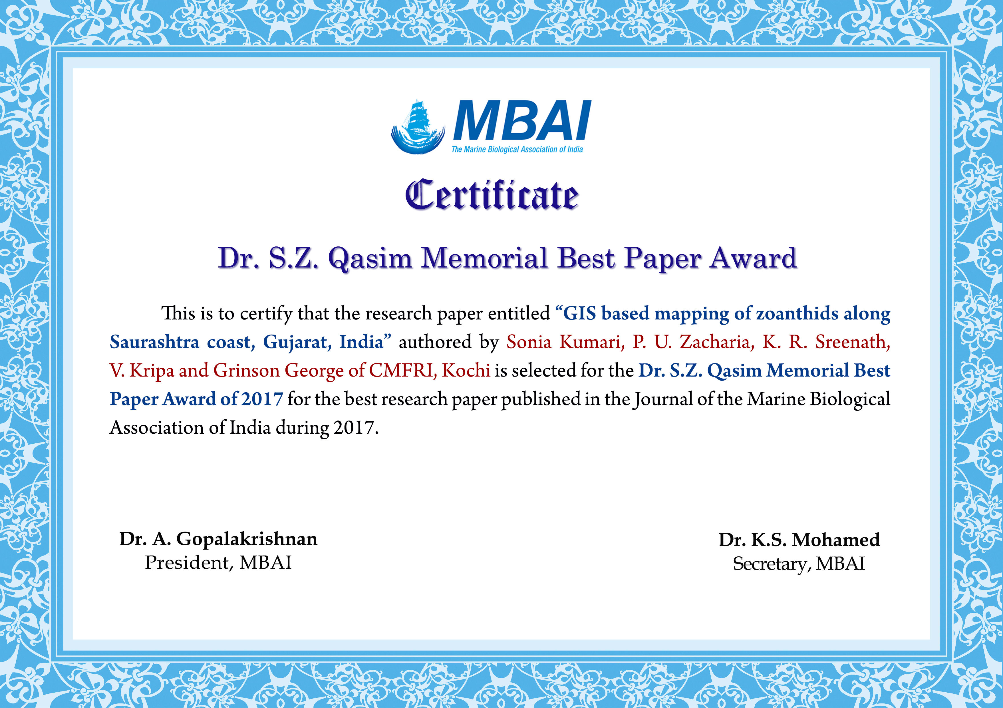 mbai the marine biological association of india